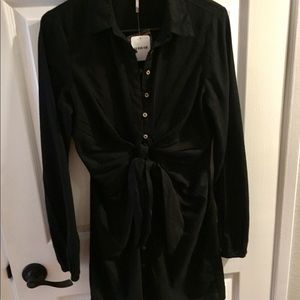Free People black long sleeve tie waist dress